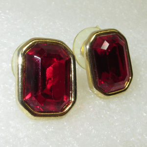 Vintage 90's Monet Gold Plated Faux Ruby Earrings
